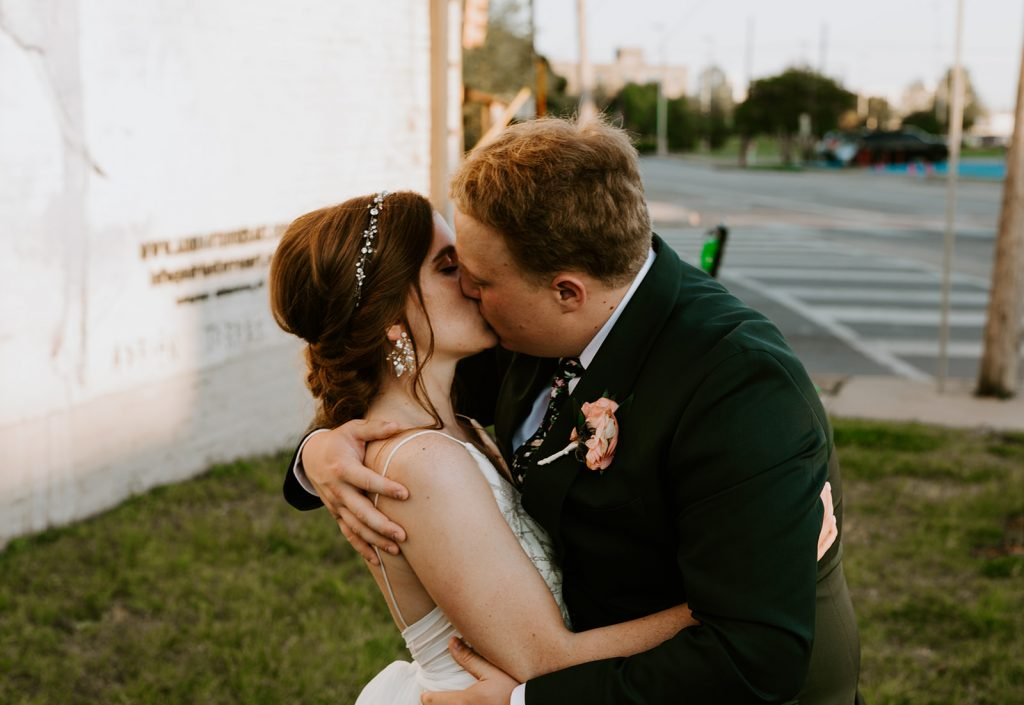 Wedding Couple photos at Brake and Clutch Warehouse in Dallas Texas after ceremony