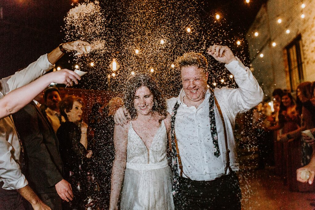Confetti Exit after Wedding Reception at Brake and Clutch Warehouse in Dallas Texas